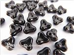 Czech Pressed Glass Beads, 7MM Mini 3-Petal Flower shape, *Opaque Black*