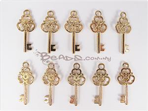 Charm with loop, *Victorian Key*, 14K Bright Gold electroplated