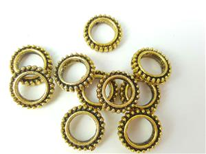 Bead Frame Connector, *Beaded Round*, 9K Antique Gold electroplated (Lead / Nickel / Iron-free), outer diameter 13mm, inner diameter 9mm. Sold by 10 pcs