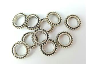 Bead Frame Connector, *Beaded Round*, Antique Silver