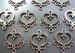 Metal Connector with 7 loops (best quality),*Rococo Heart*, Antique Silver
