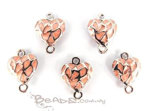Enamel Connector with 2 loops, *3D Fancy Heart*, Rhodium plated with Pink Enamel
