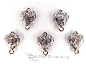 Enamel Connector with 2 loops, *3D Fancy Heart*, Rhodium plated with Lavender Enamel