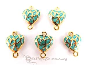 Enamel Connector with 2 loops, *3D Fancy Heart*, Gold plated with Turquoise Enamel