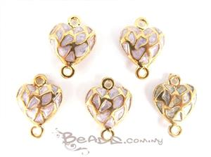Enamel Connector with 2 loops, *3D Fancy Heart*, Gold plated with Lavender Enamel