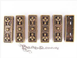 Bali Style Spacer Connector 3-hole Bar, Rectangle shape, Antique Bronze electroplated