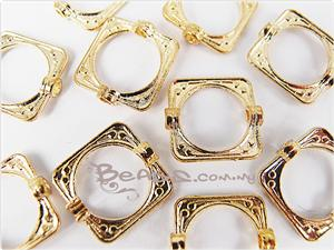 Bead Frame Connector, *Art Deco* Square shaped, 14K Bright Gold electroplated Pewter