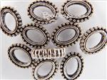 Bead Frame Connector, *Beaded Oval*, Antique Silver