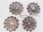 Lightweight Metal Filigree Connector, Antique Silver Focal *Domed Flower*