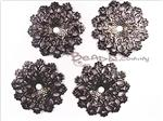 Lightweight Metal Filigree Connector, Gunmetal Focal *Domed Flower*