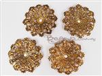 Lightweight Metal Filigree Connector, Antique Gold Focal *Domed Flower*