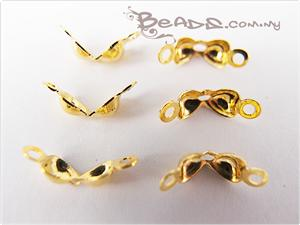 Clamshell Bead-tip with 2 Loops, *Heart* shaped, Gold electroplated