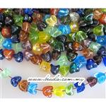 Handmade Plain Lampwork Glass Mix, Folded Nugget shape