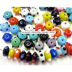 Handmade Lampwork Beads, Bumpy Decor Mix, Rondelle shape, Opaque colors