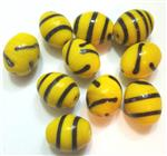 Handmade Lampwork Beads, Yellow Bee Design, Rice shape, *Yellow*