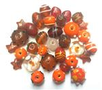Handmade Semi-Lampwork Glass Beads, Mixed Shapes & Size, *Orange & Red*