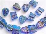 Pressed Glass Beads, Leaf and Butterfly Mix, Rainbow Aqua