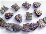 Pressed Glass Beads, Leave and Butterfly Mix, Rainbow Purple