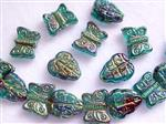 Pressed Glass Beads, Leave and Butterfly Mix, Rainbow Teal