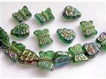 Pressed Glass Beads, Leave and Butterfly Mix, Rainbow Green