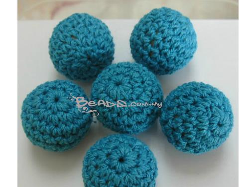 Crochet Round Beads (cotton), Blue Turquoise color, 23mm diameter