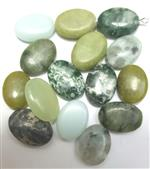 Mixed Gemstone Beads, Oval shape, *Forest Mix*