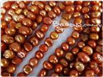 Fresh Water Pearl Beads, Gold Orange, Nugget shape, 5-7mm long