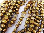 Fresh Water Pearl Beads, Gold Olive, Nugget shape, 5-7mm long