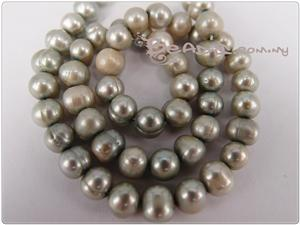 Natural Fresh Water Pearl Beads, Creamy Silver, 6-7.5mm Potato shape