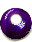 Agate Gemstone Pendant, Focal Round shape with Hole, Dark Purple