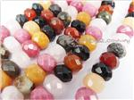 Mixed Gemstone Beads, Focal Faceted Rondelle shape, *Dark*